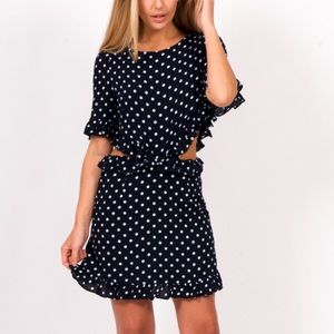 REVOLVE LUCCA DAHLIA OPEN WAIST DRESS POLKA DOT